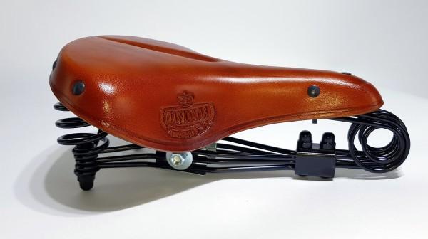 Ledersattel Lepper N90 Tourensattel honig Classic Cycle Logo
