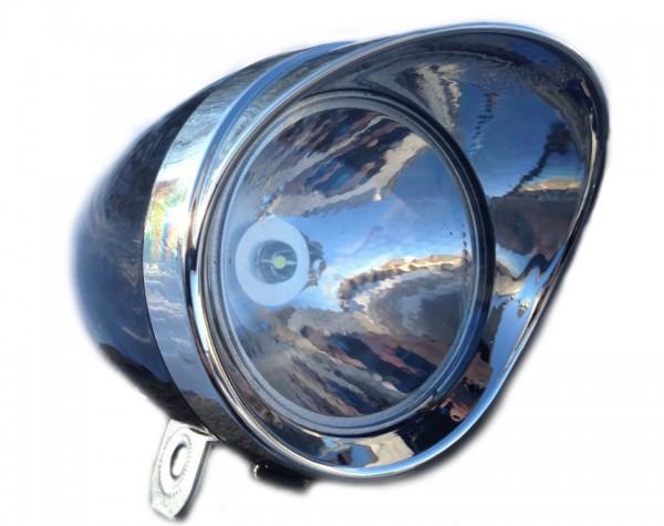 CC retro LED Frontlampe Batterie 70 mm schwarz mt verchromter Sonnenschute