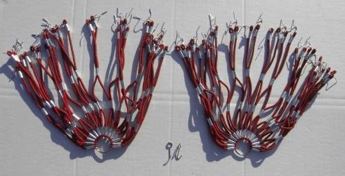 Kleidernetz Rockschutz Gummi, rot-schwarz marmoriert, 26-28