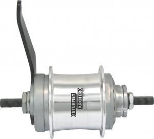 Sturmey Archer 2-Gang Duomatik, 36-Loch silber