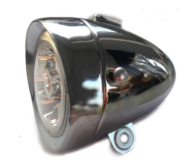 6 LED Frontlampe Batterie 80 mm chrom