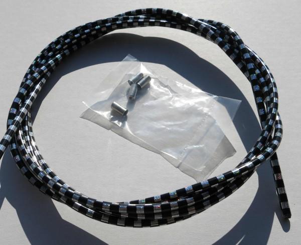 Außenzug Bowdenzug Checkered Flag schwarz - silber 2,50 m 5 mm