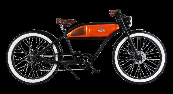 """""""GREASER"""" Das Vintage E-Bike in mattschwarz mit orange glänzendem Tank"""
