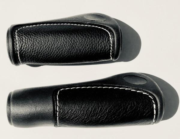 Lenkergriffe Lederinlay schwarz lang - kurz