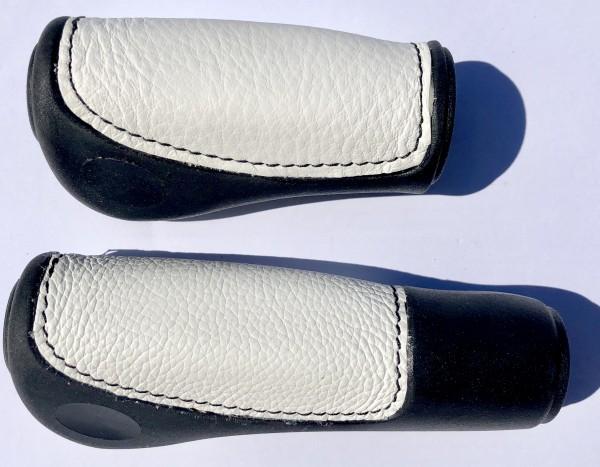 Lenkergriffe Lederinlay schwarz-weiß, lang - kurz