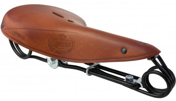 Ledersattel Lepper Victor L85 Hammock Honig, Classic Cycle Logo