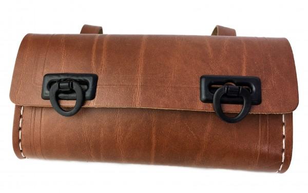 Werkzeugsatteltasche braun mit 2 schwarzen Schließen