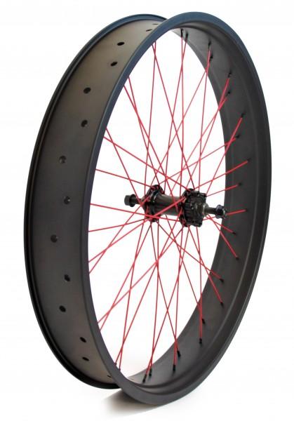 24 Laufrad 80mm, für Scheibenbremse Alunabe mit fester Achse mattschwarz, rote Speichen