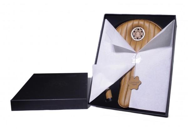 Special Box Avantgarde Leder Sattel hellbraun mit Nähten mit Griffen