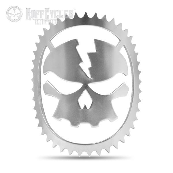 Ruff Cycles Skully Head Badge Steuerkopfschild silber