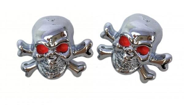 Ventilkappen Skull-Totenkopf, verchromt mit Knochen