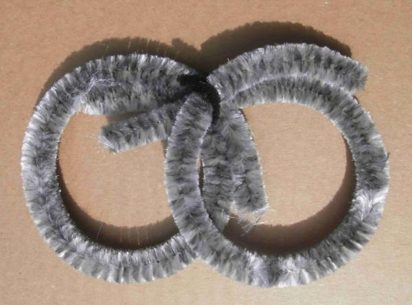 Nabenputzringe Chenille silbergrau 2 x groß