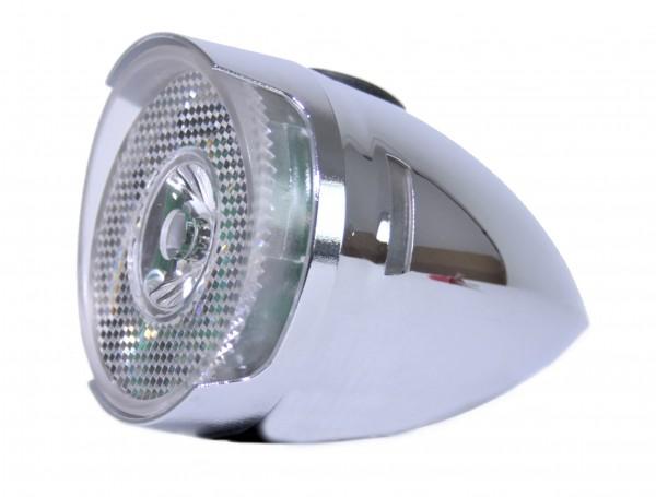 CC Retro LED Frontlampe Batterie 65 mm chrom mit Sonnenschute