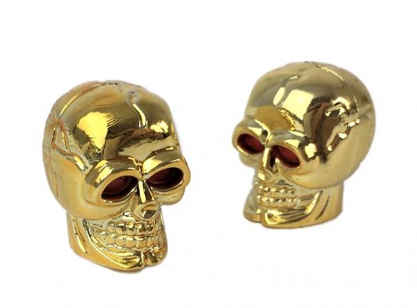 Ventilkappen Skull-Totenkopf, goldfarben