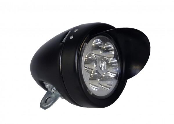 CC retro LED Frontlampe Batterie 70 mm mattschwarz mt Sonnenschute
