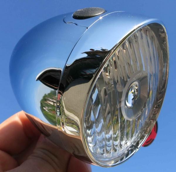 Classic Retro Batterielampe LED verchromt 4 LUX