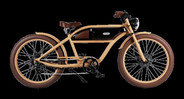 """""""GREASER"""" Das Vintage E-Bike in beige mit schwarz glänzendem Tank"""