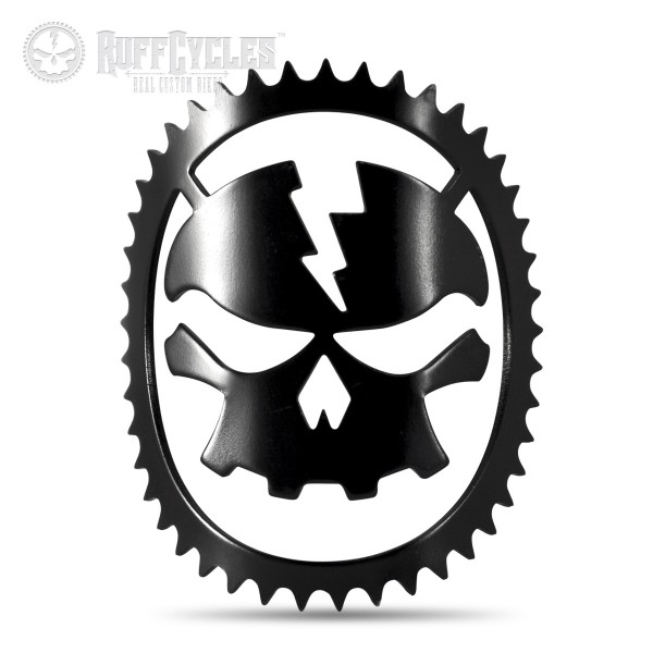 Ruff Cycles Skully schwarzer Head Badge Steuerkopfschild