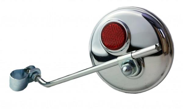 Rückspiegel, rund verchromt, roter Reflektor