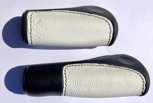 Lenkergriffe Lederinlay schwarz-weiß, lang - kurz RG