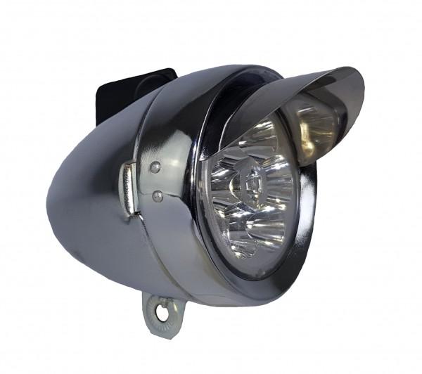 CC Retro LED Frontlampe Batterie 70 mm silber mit Sonnenschute