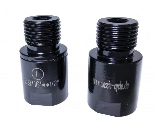 Pedal Gewinde Adapter 9/16 -> 1/2 schwarz
