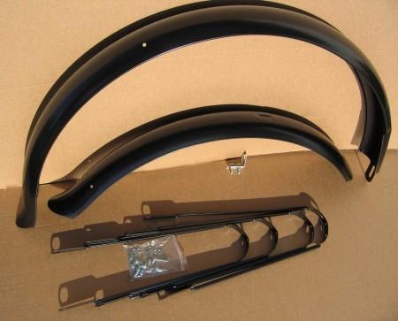 Schutzbleche 80 mm mit Bandstreben 28 Zoll schwarz