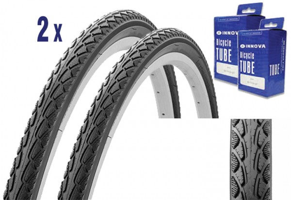 2X Reifen für Trekking oder City Bike 28 x 1.50 mit Schlauch, mit Pannenschutz und E-Bike Zulassung