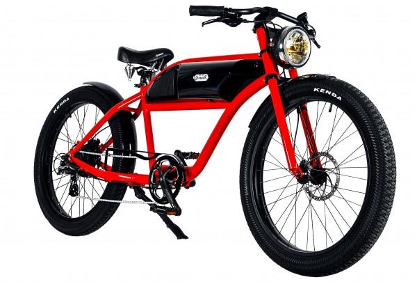 """""""GREASER"""" Das Vintage E-Bike in rot mit schwarzem Tank"""