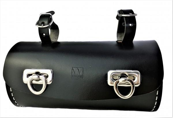 Satteltasche Echtleder in Tonnenform schwarz
