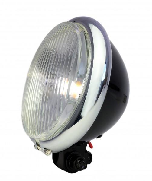 Old Bates Frontlampe LED, 15cm, Batterie glänzend schwarz
