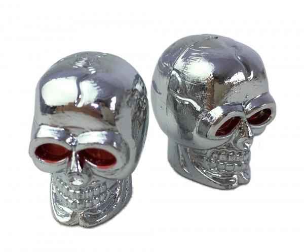 Ventilkappen Skull-Totenkopf, verchromt. Toller Custom-Look