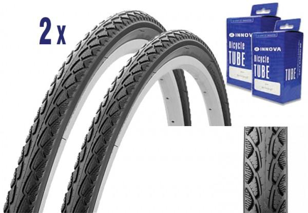 2X Reifen für Trekking oder City Bike 28 x 1.75 mit Schlauch, Pannenschutz