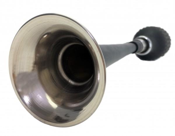 Gerade, langes Horn Ballhupe aus Edelstahl schwarz, mit Flaschen-Hupenbalg