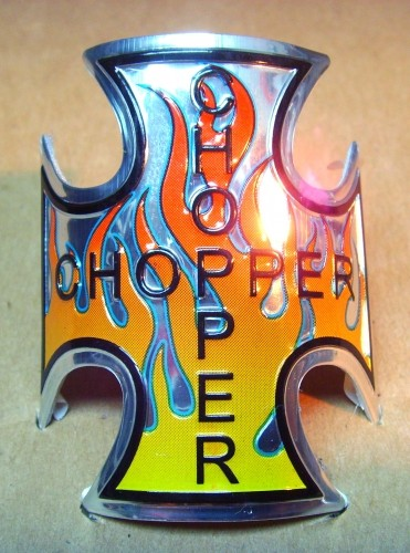 Steuerkopfschild Chopper Iron Cross Flammen orange/gelb