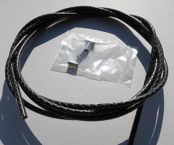 Außenzug Bowdenzug Silber / Schwarz Raute metallic 2,50 m 5 mm