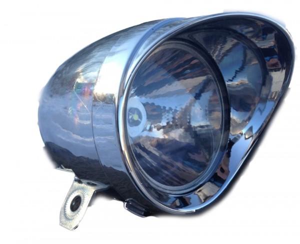 CC Retro LED Frontlampe Batterie 70 mm chrom mit Sonnenschute klein