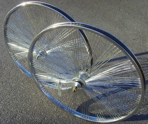 26 Chrom Fan Laufradsatz 144 Speichen Vorder- und Hinterrad, 26 Zoll