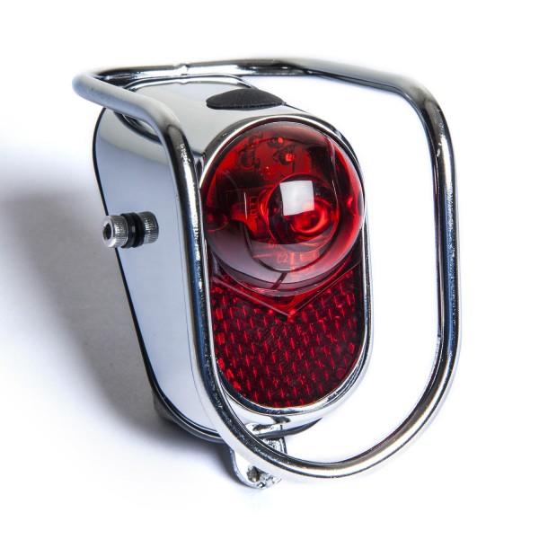 Classic Cycle Rückleuchte Tigerauge mit Stoßkäfig LED rot Batterie