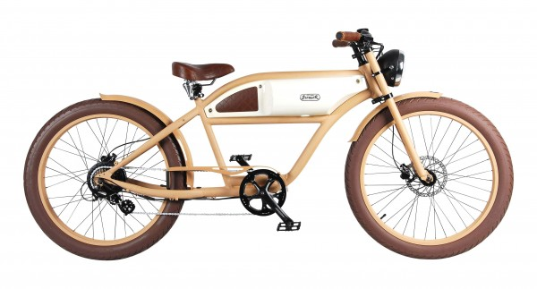 """""""GREASER"""" Das Vintage E-Bike in beige mit elfenbein glänzendem Tank, 500 W, Kettenschaltung"""
