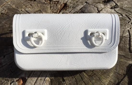 Vintage Werkzeugsatteltasche weiß Kunststoff 70/80er Jahre