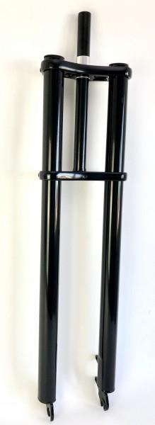 Doppelbrückengabel, schwarz glänzend 690 mm, edel für 20-28 Zoll-Reifen