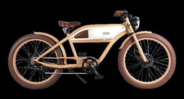 """""""GREASER"""" Das Vintage E-Bike in beige mit elfenbeinfarbenen Tank"""