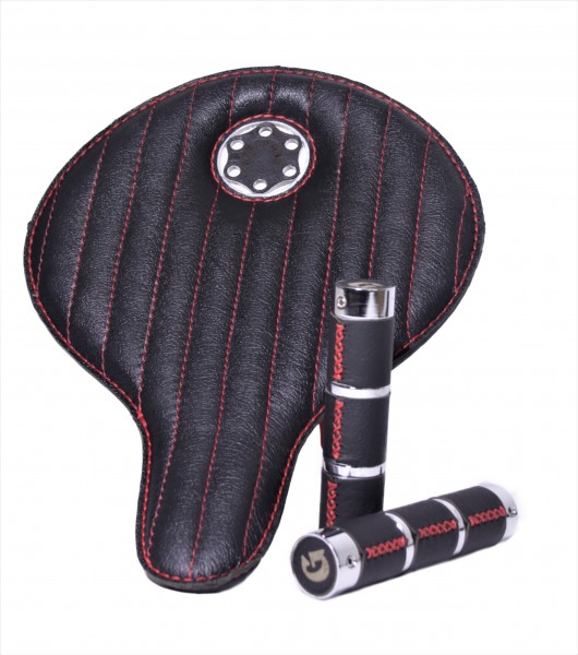 Special Box Avantgarde Leder Sattel schwarz mit roten Nähten mit Griffen