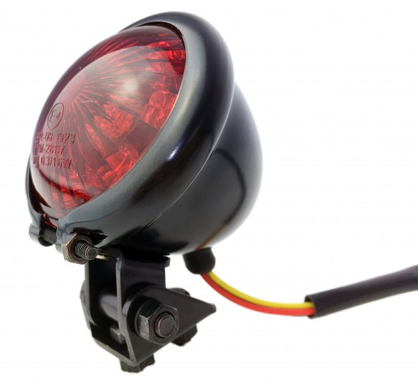 12V Bates Rücklicht LED rot, vintage Style, für Motorrad, Matt schwarz