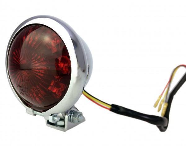 12V Bates Rücklicht LED rot, vintage Style, für Motorrad, verchromt