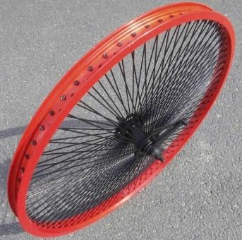 Custom Laufrad, 24 Hinterrad, 144 schwarze Speichen, rote Alufelge mit Rücktrittbremse