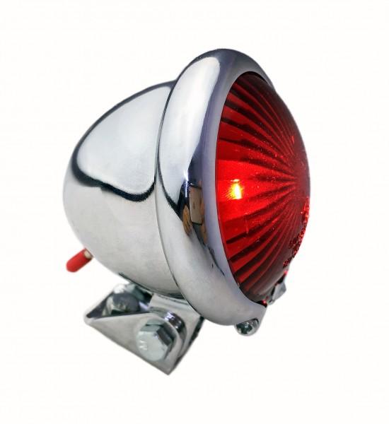 Bates Rücklicht LED rot, Retro Moped Style, Batterie verchromt